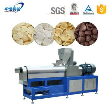 Double screw extruded breakfast cereal corn flakes snack food making machine production line