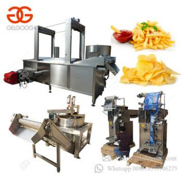 Fully Automatic Frozen French Fries Finger Chips Frying Production Line Potato Chips Making Machine Price With Packing Machine